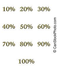 percentages, gouden, 3d