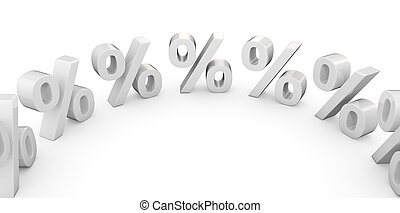 Percentages in a circle - 3 d white percentage symbols in a ...