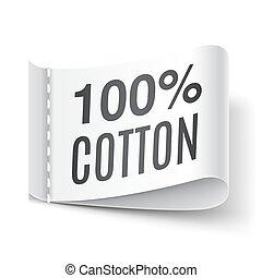 percento, 100, cotone, abbigliamento, etichetta