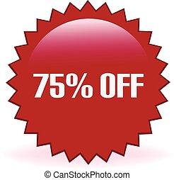 percento, 75, spento, adesivo