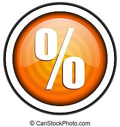 percento, isolato, lucido, fondo, arancia, bianco, icona