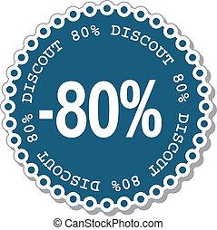 percento, scontare, ottanta
