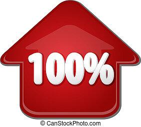 percento, su, illustrazione, freccia, cento, bolla, verso alto