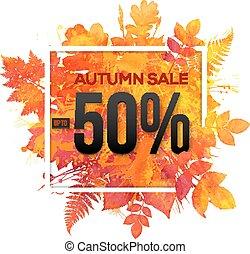 percento, vendita, 50, autunno, scontare, vettore, bandiera