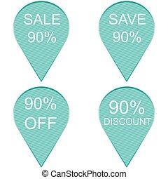 percento, vendita, 90, etichetta