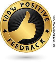 percento, vettore, etichetta, feedback, dorato, positivo, illustrazione, 100