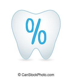 percentuale, dente, icona, segno