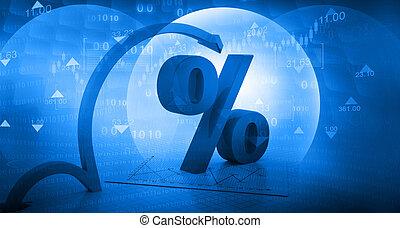 percentuale, spostamento, simbolo, freccia