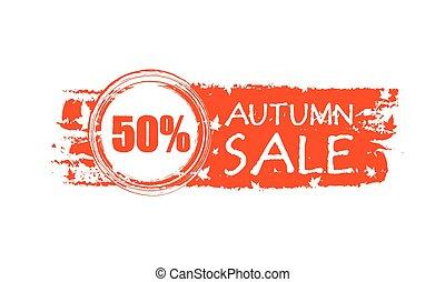 percentuali, vendita, 50, autunno, v, bandiera