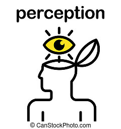 perception icon - illustration of eye in stylized human head