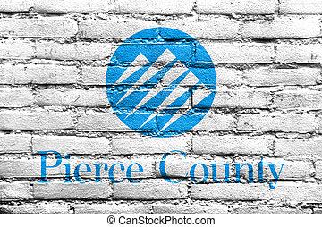 percer, usa, peint, comté, mur, drapeau, washington, brique