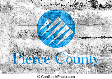 percer, usa, peint, comté, mur, drapeau, washington, sale