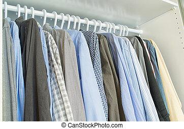 percha, Cuelgue, camisas, hombres, ropa