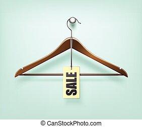 percha, de madera, chamarra, venta, etiqueta, etiqueta, ropa