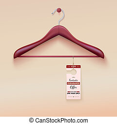 percha, oferta, señal, de madera, etiqueta, especial, rojo