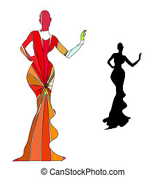 percha, silueta, negro de sexo femenino, maniquí, hierro