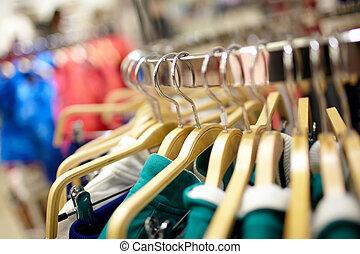 perchas, en, el, ropa, store.