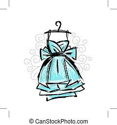 perchas, vestido, bosquejo, diseño, su
