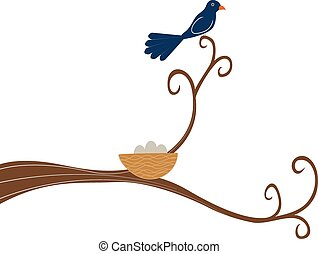 perched, árbol, pájaro, madre