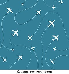 percorsi, differente, illustration., modello, aeroplani, seamless, vettore