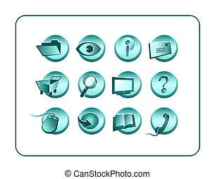 percorsi, ritaglio, set, icona