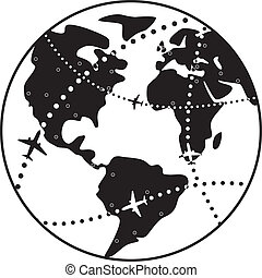 percorsi, volo, sopra, vettore, terra, aeroplano, globo
