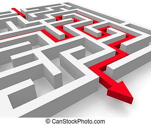 percorso, attraverso, labirinto