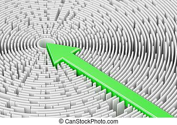 percorso, attraverso, labirinto, soluzione, concept., 3d, interpretazione