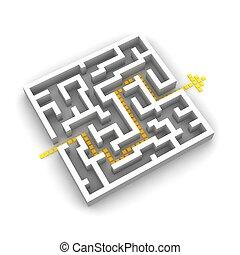 percorso, attraverso, labyrinth., 3d, reso, image.