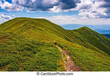 percorso, cresta, attraverso, montagna