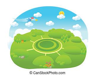 percorso, differente, verde, sopra, paesaggio