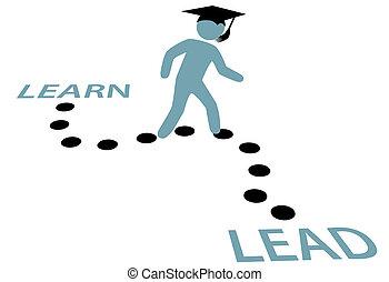 percorso, educazione, graduazione, piombo, imparare