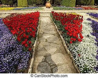 percorso, fiori, pieno, giardino