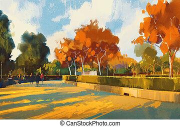 percorso, in, il, autunno, parco