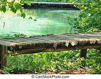percorso legno, su, il, lago