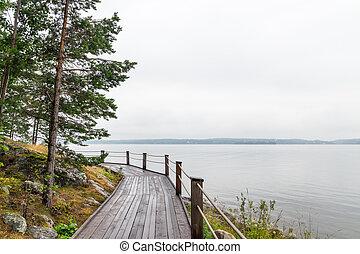 percorso legno, su, uno, lakeshore
