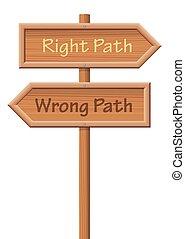 percorso legno, torto, destra, guidepost