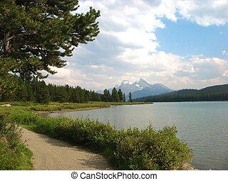 percorso, lungo, lago, maligne