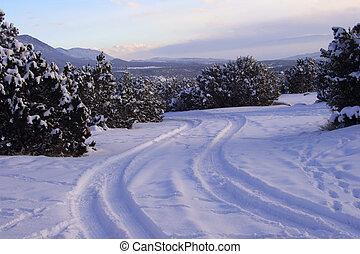 percorso, nevoso, crepuscolo