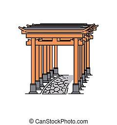 percorso, pietra, giapponese, isolato, cancello torii, bianco, fila, fondo