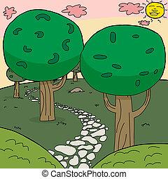 percorso, pietra, legnhe