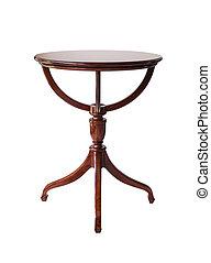 percorso, ritaglio, legno, isolato, tavola, rotondo, fondo, bianco