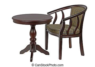 percorso, ritaglio, sedia, isolato, tavola, rotondo, fondo, bianco