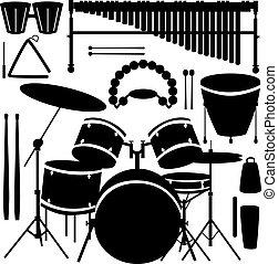 percusión, vector, instrumentos
