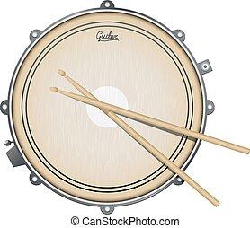 percusión, vector, realista, trampa, aislado, blanco, ...