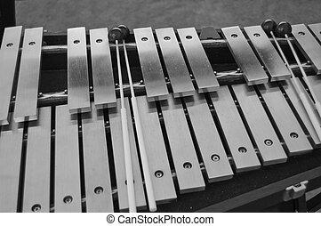 percusión, vibraciones, negro, blanco, mazos