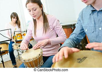 percussie, vrouw, stand, jonge