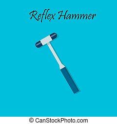 Percussion hammer for medicine testing. reflex hammer....