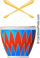 Percussion instrument drum on a white background. Isolated object. Cartoon style. Stock