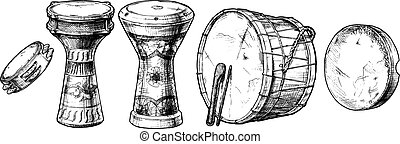 percussion instrument of the Near East. - Vector hand drawn...